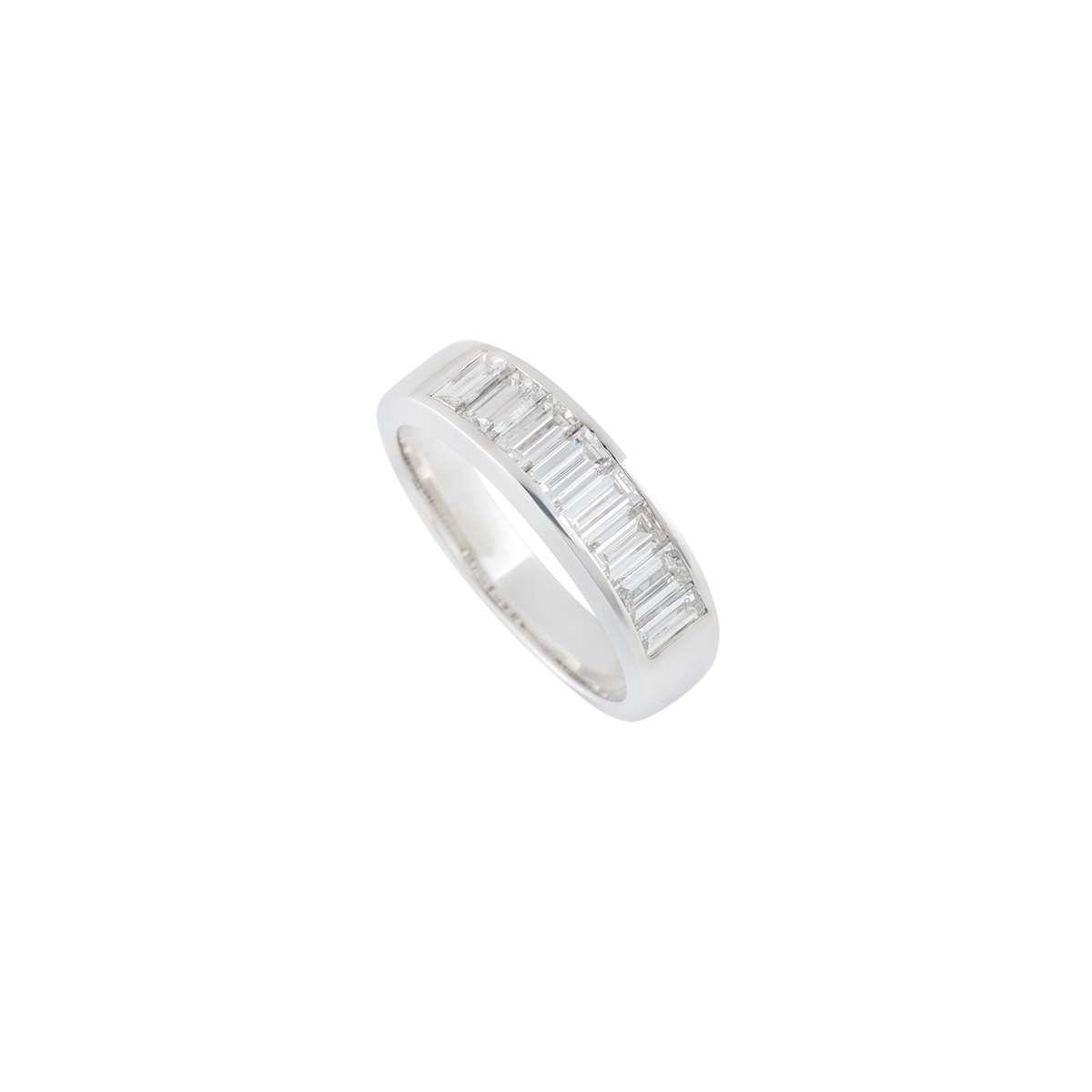 18k White Gold Baguette Cut Diamond Half Eternity Ring 1.31ct G/VS
